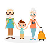 Grandparents with grandson. Grandfather and grandmother with a packsack travel. Travelling with the knapsack. Vector illustration eps 10 isolated on white background. Flat cartoon style.