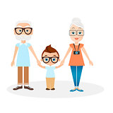 Grandparents with grandson. Vector illustration eps 10 isolated on white background. Flat cartoon style.