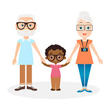 Grandparents with grandson. African american boy. Vector illustration eps 10 isolated on white background. Flat cartoon style.
