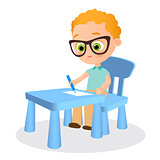 Young boy with glasses paints sitting at a school desk . Vector illustration eps 10. Flat cartoon style.