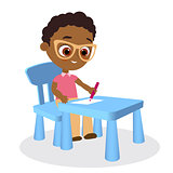 Young african american boy paints sitting at a school desk . Vector illustration eps 10. Flat cartoon style.