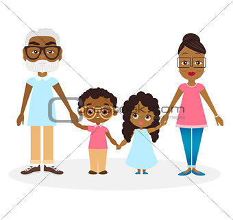 African american Grandparents with grandson and granddaughter. Happy African american family hold hands. Vector illustration eps 10 isolated on white background. Flat cartoon style.