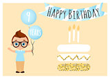 Happy birthday postcard with cake. Happy Birthday background for poster, banner, card, invitation, flyer. Young Boy holds balls with congratulations. Vector illustration eps 10. Flat cartoon style.