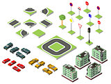 Set Isometric road and Vector Cars, Common road traffic regulatory, Building with a windows and air-conditioning. Vector illustration eps 10 isolated on background.