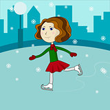 Happy cute girl riding on ice skates