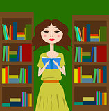 Girl in the library or bookstore reading a book
