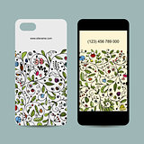 Mobile phone cover design. Floral ornament