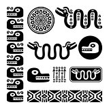 Aztec animals, Mayan snake, ancient Mexican design set