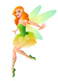 Vector cute flying fairy with dragonfly wings in green outfit.
