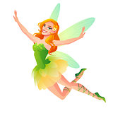 Vector cute flying floral fairy with wings in green dress.