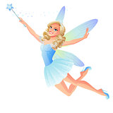 Vector cute flying blue tooth fairy with magic wand.