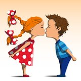 boy and girl kissing standing