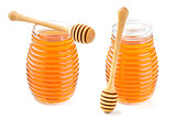 Honey in glass jar isolated on white background