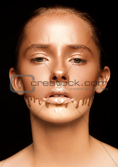 Beauty portrait with foundation makeup over face