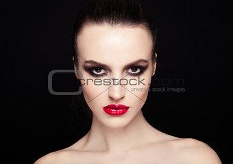 Beauty smokey eyes red lips makeup fashion model