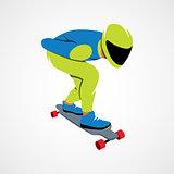 Skateboarder longboarding downhill