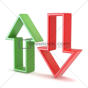 Green and red arrow. 3D