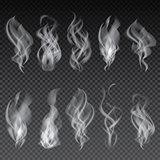 Smoke Set Isolated on Transparent Background.