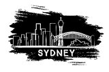 Sydney Skyline Silhouette. Hand Drawn Sketch.