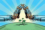 The robot arm protect green sprout, technology environment and n