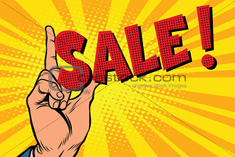 Business concept sale, hand gesture
