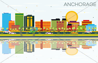 Anchorage Skyline with Color Buildings, Blue Sky and Reflections