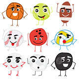Set of Cute Cartoon Balls Characters.
