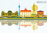 Berlin Skyline with Color Buildings, Blue Sky and Reflections.