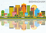 Birmingham Skyline with Color Buildings, Blue Sky and Reflection
