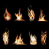 Realistic Burning Fire Flames Set.