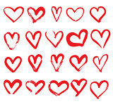 Set of Hand Drawn Hearts. Red Color.
