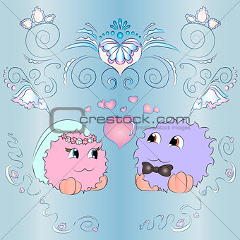 bride and groom wedding card ornaments blue background