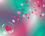 hearts and bubble with reflections colored background