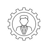 Businessman in gear line icon