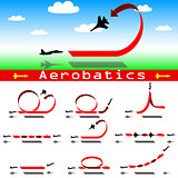 Aerobatics airplane on blue sky background. Vector illustration.