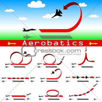 Aerobatics airplane on blue sky background. Vector illustration.
