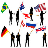 Black silhouettes of  mans and womans with flags on white backgr