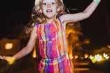 Little girl jumping and having fun.