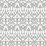Damask seamless floral pattern black background