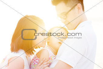 Beautiful family outdoor portrait
