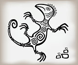 Fun decorative lizard ornament in an old ethnic style. EPS10 vector illustration
