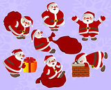 Set of funny Christmas Santa Claus with gifts. EPS10 vector illustration.