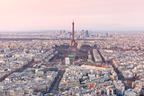 Aerial view of Paris at sundown, France