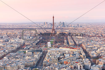 Aerial view of Paris at sundown, France