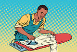 Vintage employee ironed clothes