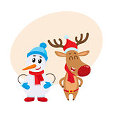 Dnowman in hat and mittens with Christmas reindeer in scarf