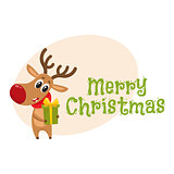 Funny Christmas reindeer in red scarf holding a gift, present