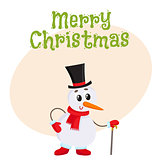 Cute and funny little snowman in cylinder hat leaning on a cane