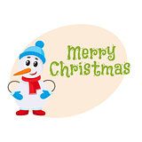 Merry Christmas greeting card template with little snowman