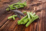 Raw green beans.